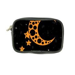 Moon Star Space Orange Black Light Night Circle Polka Coin Purse by Mariart