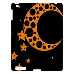 Moon Star Space Orange Black Light Night Circle Polka Apple Ipad 3/4 Hardshell Case by Mariart