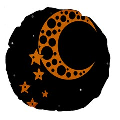 Moon Star Space Orange Black Light Night Circle Polka Large 18  Premium Flano Round Cushions by Mariart