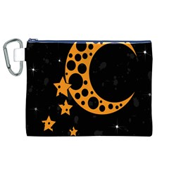 Moon Star Space Orange Black Light Night Circle Polka Canvas Cosmetic Bag (xl) by Mariart