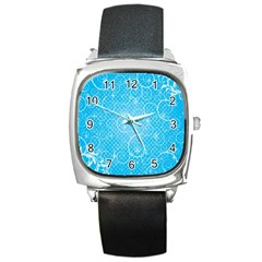Leaf Blue Snow Circle Polka Star Square Metal Watch by Mariart