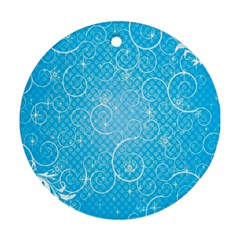 Leaf Blue Snow Circle Polka Star Round Ornament (two Sides) by Mariart