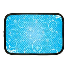 Leaf Blue Snow Circle Polka Star Netbook Case (medium)  by Mariart
