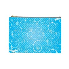 Leaf Blue Snow Circle Polka Star Cosmetic Bag (large)  by Mariart