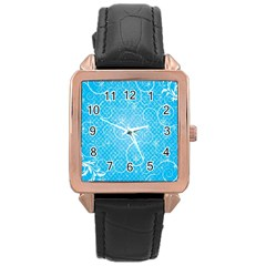 Leaf Blue Snow Circle Polka Star Rose Gold Leather Watch  by Mariart