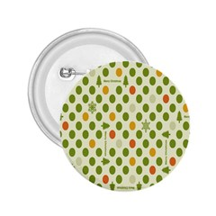 Merry Christmas Polka Dot Circle Snow Tree Green Orange Red Gray 2 25  Buttons by Mariart