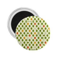 Merry Christmas Polka Dot Circle Snow Tree Green Orange Red Gray 2 25  Magnets by Mariart