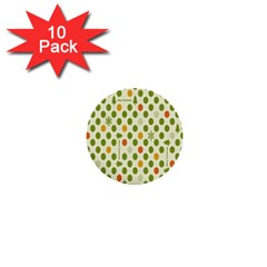 Merry Christmas Polka Dot Circle Snow Tree Green Orange Red Gray 1  Mini Buttons (10 Pack)  by Mariart