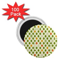 Merry Christmas Polka Dot Circle Snow Tree Green Orange Red Gray 1 75  Magnets (100 Pack)  by Mariart