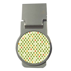 Merry Christmas Polka Dot Circle Snow Tree Green Orange Red Gray Money Clips (round)  by Mariart