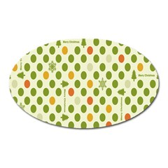 Merry Christmas Polka Dot Circle Snow Tree Green Orange Red Gray Oval Magnet by Mariart