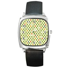 Merry Christmas Polka Dot Circle Snow Tree Green Orange Red Gray Square Metal Watch by Mariart