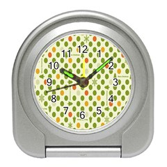 Merry Christmas Polka Dot Circle Snow Tree Green Orange Red Gray Travel Alarm Clocks by Mariart