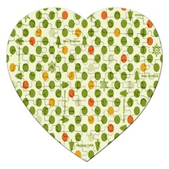 Merry Christmas Polka Dot Circle Snow Tree Green Orange Red Gray Jigsaw Puzzle (heart) by Mariart