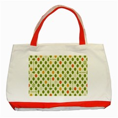 Merry Christmas Polka Dot Circle Snow Tree Green Orange Red Gray Classic Tote Bag (red) by Mariart