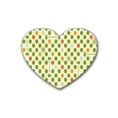 Merry Christmas Polka Dot Circle Snow Tree Green Orange Red Gray Rubber Coaster (heart)  by Mariart