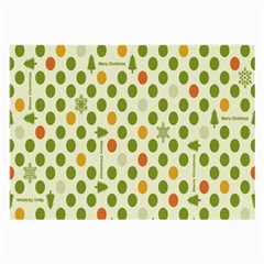 Merry Christmas Polka Dot Circle Snow Tree Green Orange Red Gray Large Glasses Cloth (2 Side) by Mariart