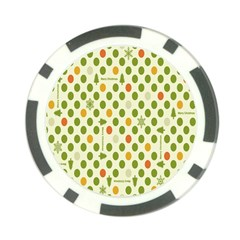 Merry Christmas Polka Dot Circle Snow Tree Green Orange Red Gray Poker Chip Card Guard by Mariart