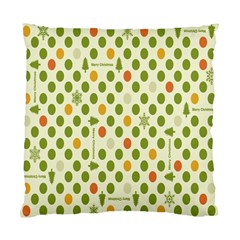Merry Christmas Polka Dot Circle Snow Tree Green Orange Red Gray Standard Cushion Case (one Side) by Mariart