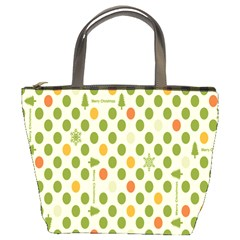 Merry Christmas Polka Dot Circle Snow Tree Green Orange Red Gray Bucket Bags by Mariart