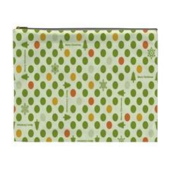 Merry Christmas Polka Dot Circle Snow Tree Green Orange Red Gray Cosmetic Bag (xl) by Mariart