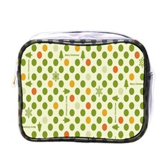 Merry Christmas Polka Dot Circle Snow Tree Green Orange Red Gray Mini Toiletries Bags by Mariart