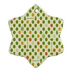 Merry Christmas Polka Dot Circle Snow Tree Green Orange Red Gray Snowflake Ornament (two Sides) by Mariart