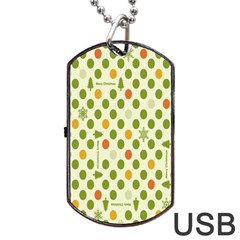 Merry Christmas Polka Dot Circle Snow Tree Green Orange Red Gray Dog Tag Usb Flash (two Sides) by Mariart