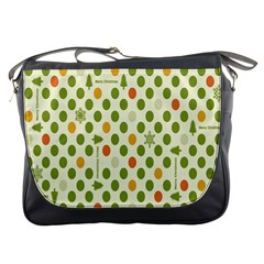 Merry Christmas Polka Dot Circle Snow Tree Green Orange Red Gray Messenger Bags by Mariart