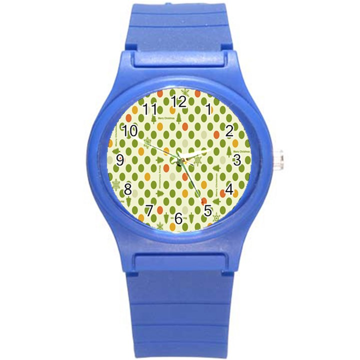 Merry Christmas Polka Dot Circle Snow Tree Green Orange Red Gray Round Plastic Sport Watch (S)
