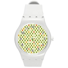 Merry Christmas Polka Dot Circle Snow Tree Green Orange Red Gray Round Plastic Sport Watch (m) by Mariart