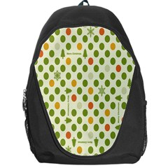 Merry Christmas Polka Dot Circle Snow Tree Green Orange Red Gray Backpack Bag by Mariart