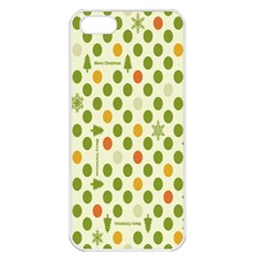 Merry Christmas Polka Dot Circle Snow Tree Green Orange Red Gray Apple Iphone 5 Seamless Case (white) by Mariart