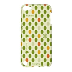 Merry Christmas Polka Dot Circle Snow Tree Green Orange Red Gray Apple Ipod Touch 5 Hardshell Case by Mariart