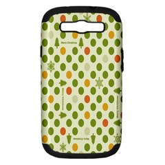 Merry Christmas Polka Dot Circle Snow Tree Green Orange Red Gray Samsung Galaxy S Iii Hardshell Case (pc+silicone) by Mariart