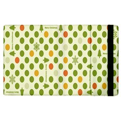 Merry Christmas Polka Dot Circle Snow Tree Green Orange Red Gray Apple Ipad 3/4 Flip Case by Mariart