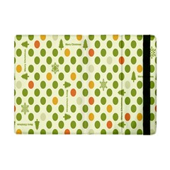 Merry Christmas Polka Dot Circle Snow Tree Green Orange Red Gray Apple Ipad Mini Flip Case by Mariart
