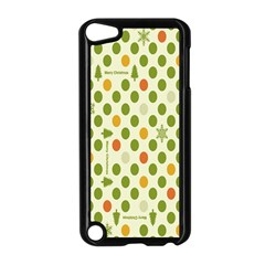 Merry Christmas Polka Dot Circle Snow Tree Green Orange Red Gray Apple Ipod Touch 5 Case (black) by Mariart