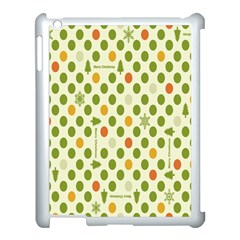 Merry Christmas Polka Dot Circle Snow Tree Green Orange Red Gray Apple Ipad 3/4 Case (white) by Mariart
