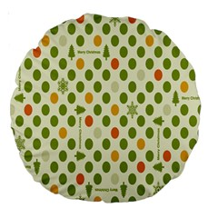 Merry Christmas Polka Dot Circle Snow Tree Green Orange Red Gray Large 18  Premium Round Cushions by Mariart