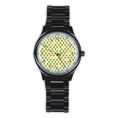 Merry Christmas Polka Dot Circle Snow Tree Green Orange Red Gray Stainless Steel Round Watch by Mariart