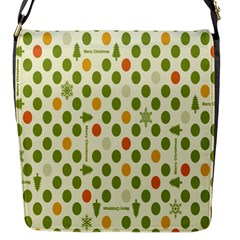 Merry Christmas Polka Dot Circle Snow Tree Green Orange Red Gray Flap Messenger Bag (s) by Mariart
