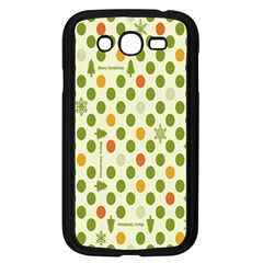 Merry Christmas Polka Dot Circle Snow Tree Green Orange Red Gray Samsung Galaxy Grand Duos I9082 Case (black)