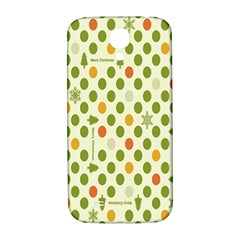 Merry Christmas Polka Dot Circle Snow Tree Green Orange Red Gray Samsung Galaxy S4 I9500/i9505  Hardshell Back Case by Mariart