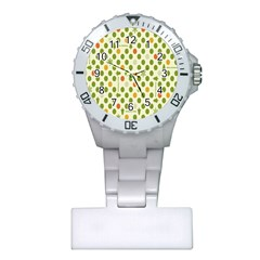Merry Christmas Polka Dot Circle Snow Tree Green Orange Red Gray Plastic Nurses Watch by Mariart