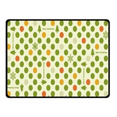Merry Christmas Polka Dot Circle Snow Tree Green Orange Red Gray Double Sided Fleece Blanket (small)  by Mariart