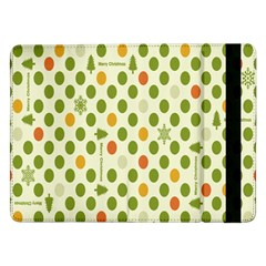 Merry Christmas Polka Dot Circle Snow Tree Green Orange Red Gray Samsung Galaxy Tab Pro 12 2  Flip Case by Mariart
