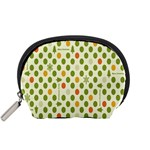 Merry Christmas Polka Dot Circle Snow Tree Green Orange Red Gray Accessory Pouches (Small)  Front