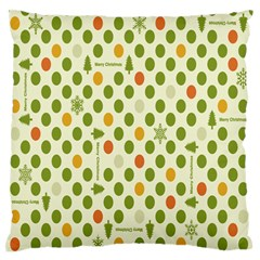 Merry Christmas Polka Dot Circle Snow Tree Green Orange Red Gray Large Flano Cushion Case (two Sides) by Mariart