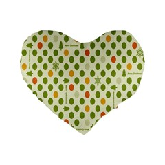 Merry Christmas Polka Dot Circle Snow Tree Green Orange Red Gray Standard 16  Premium Flano Heart Shape Cushions by Mariart